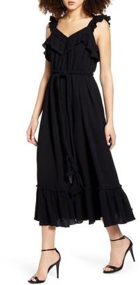 ENGLISH FACTORY Front Slit Gauze Midi Dress