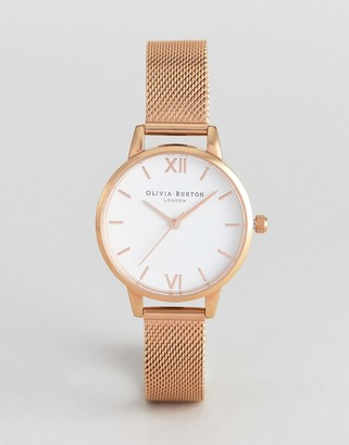Olivia Burton OB16MDW01 Hackney midi mesh watch in rose gold