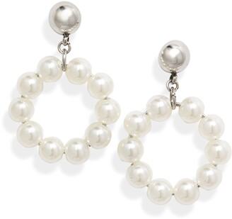 Knotty Imitation Pearl Round Drop Earrings