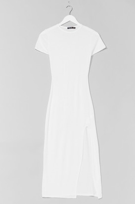 Nasty Gal Womens Maxed Out Slit Jersey Dress - Cream