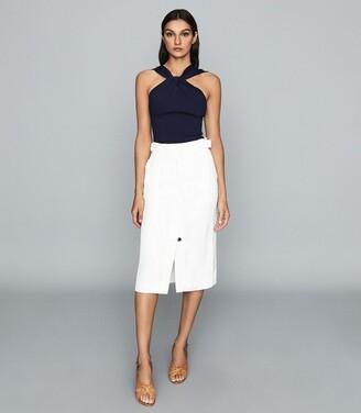Reiss Katie - Linen Blend Midi Skirt in White