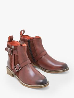 White Stuff Brit Buckle Leather Chelsea Boots, Dark Claret