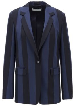 HUGO BOSS Relaxed Fit Jacket In Striped Stretch Fabric - Patterned