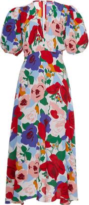 Faithfull The Brand Vittoria Floral Crepe Midi Dress