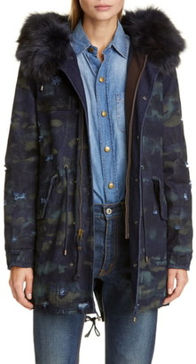 Mr & Mrs Italy Distressed Camo Denim Parka with Genuine Fox Fur Trim