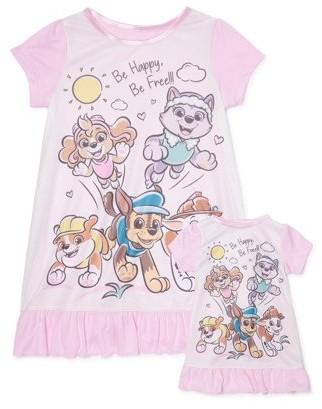 Paw Patrol Toddler Girls Matching Doll & Me Short Sleeve Nightgown Pajamas, 2pc Gift Set (2T-4T)