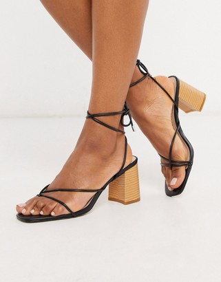 RAID Jennifer super strappy block heeled sandals in black