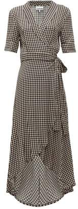 Ganni Gingham Crepe Wrap Dress - Womens - Black White