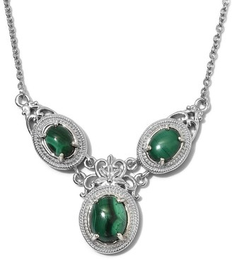 Shop Lc 950C Steel Stainless Steel Malachite Necklace Size 18 Inch Ct 7.1 - Size 18''