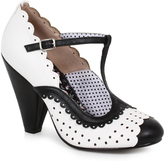 Bettie Page White & Black Leatherette Spectator Paige T-Strap Heels Shoes