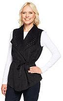 As Is Denim & Co. Faux Suede Vest with Stud Detail & Removable Belt