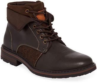 Robert Wayne Men's Jef Mixed Leather Combat Boots