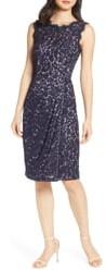 Eliza J Embroidered Lace Sheath Dress