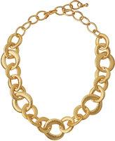 Kenneth Jay Lane Golden Hammered Link Chain Necklace