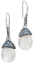 John Hardy Sterling Silver Batu Classic Chain Drop Earrings with Rainbow Moonstone and Light Blue Sapphire