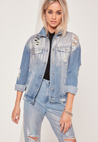 Missguided Holographic Ripped Denim Jacket Blue