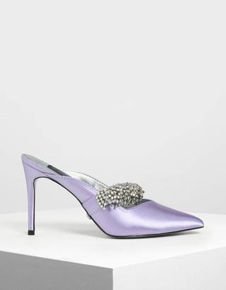 Charles & KeithCharles & Keith Embellished Satin Pointed Toe Heels