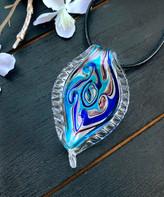 Besheek BeSheek Women's Necklaces Aqua - Aqua-Blue Glass & Black Leather Pendant Necklace