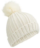 Miss Selfridge Faux Fur Pompom Hat, Cream