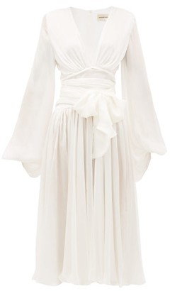 Alexandre Vauthier Draped Plunge-neck Silk-chiffon Dress - Womens - Cream