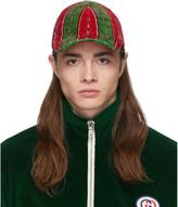 Gucci Green and Red Chenille Horsebit Chain Cap