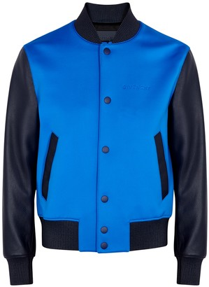 Givenchy Blue neoprene and leather bomber jacket