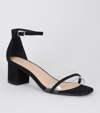 New Look Girls Suedette Clear Strap Block Heel Sandals