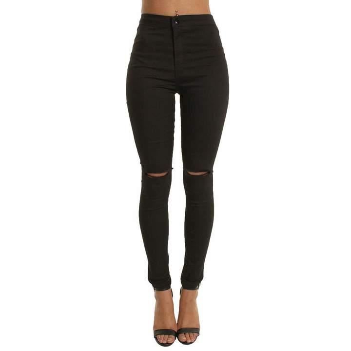 33e04de0ea379 Topgee Women's Pants Topgee Women High Waist Knee Distressed Ripped Skinny  Denim Zipper Jeans