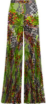 Versace Pleated Floral-print Silk-crepe Wide-leg Pants - Lime green