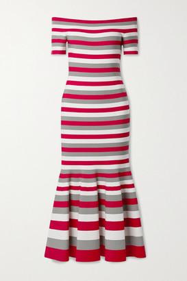 Oscar de la Renta Off-the-shoulder Striped Knitted Midi Dress - Red