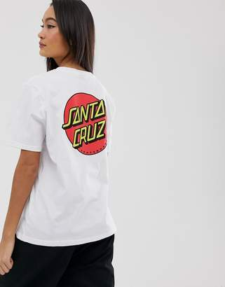 Santa Cruz Boyfriend t-shirt with classic dot logo graphic-White