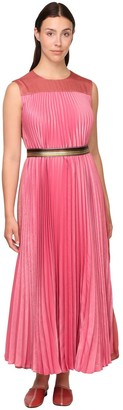 Marina Rinaldi Pleated Satin Dress W/ Belt