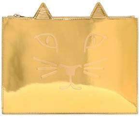 Charlotte Olympia Embossed Mirrored-Leather Clutch