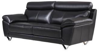 "Holborn Genuine Leather 86"" Pillow top Arm Sofa Orren Ellis Upholstery: Black"