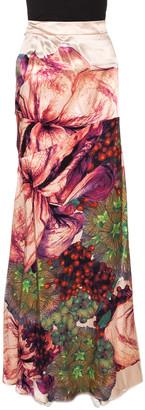 Roberto Cavalli Pink Macro Floral Printed Silk Satin Maxi Skirt L