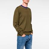 Paul Smith Men's Khaki Merino-Wool Contrast-Collar Sweater