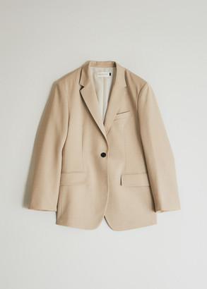 BEIGE Kindersalmon Women's Oversized Wool Blazer Jacket in Beige, Size Large