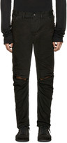 Julius Black Coated Slit Knees Jeans