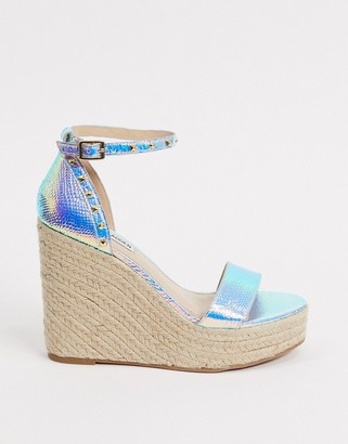 Steve Madden Shanon two part stud detail wedge sandals in blue