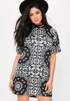 Missguided Plus Size Black Paisley Printed T-Shirt Dress, Black