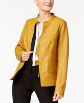 Alfani Petite Stitched-Detail Faux-Leather Jacket, Created for Macy's