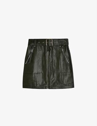 Topshop Mid-rise faux-leather mini skirt