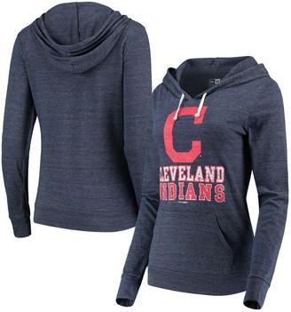 New Era Women's Navy Cleveland Indians Jersey Tri-Blend Pullover Hoodie