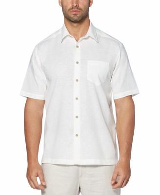 Cubavera Linen Cotton Solid One Pocket Shirt