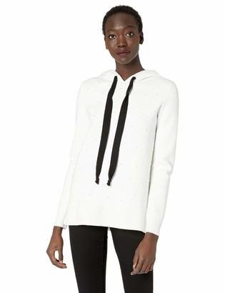 Kensie Women's Viscose Blend Hooded Pearl Sweater