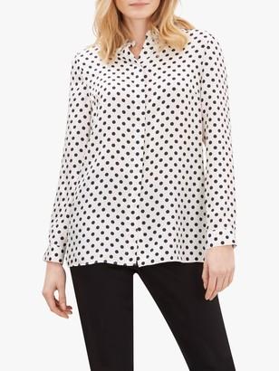 Jaeger Polka Dot Silk Shirt, White