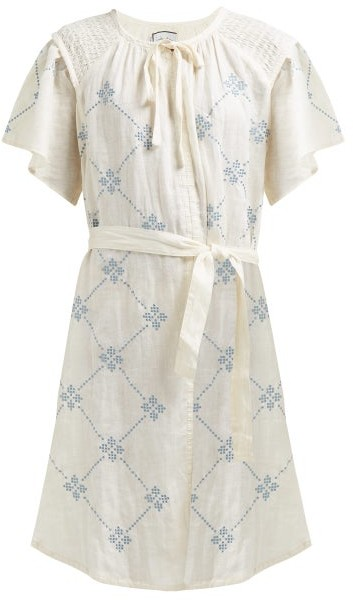Innika Choo Embroidered Tie Waist Linen Dress - Womens - Yellow