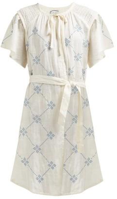 Innika Choo Embroidered Tie-waist Linen Dress - Yellow