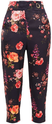 Mother of Pearl Carmen Cropped Floral-print Hammered-satin Tapered Pants