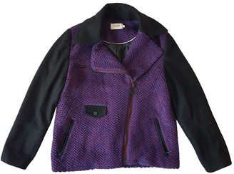 Eleven Paris Purple Wool Leather Jacket for Women